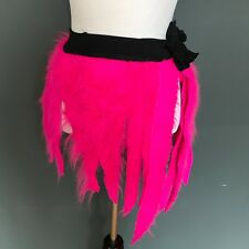 Womens Hot Pink Fur Mini Skirt One Size Small Large Burning Neon Man Raver Rave