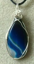 Blue Agate Woven Pendant Necklace