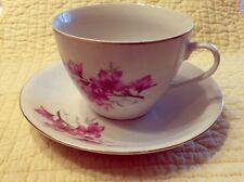 Zhongguo Zhi Zao Porcelain China Tea Cup & Saucer Flower Blossom Pattern Gold DD