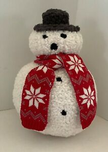 Pottery Barn Cozy ARCHIE SNOWMAN Pillow Christmas New w/Tags  NWT