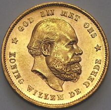 1877 Netherlands Gold Coin 10 Gulden William III KM# 106 (A*36)
