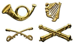 American Civil War, collections, Set of 4 Hat Brass Insignias GIE01, New