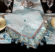 TABLE RUNNER LUXURIOUS EUROPEAN STYLE SOFT BLUE BEADING EMBROIDED 220CM X 30CM