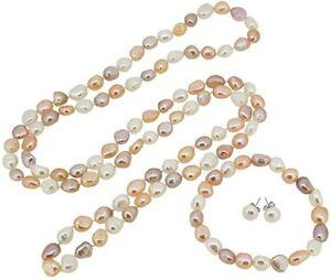 Elegant 8-9mm Baroque Freshwater Pearl Necklace Bracelet and Earrings for Women