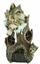 More details for novelty wolves house with led light figurine statue ornament wolf gift