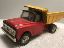 Vintage 🚗Pressed Steel Chevy Dump Truck Yellow And Red Japan Rare 60s GMC Gm