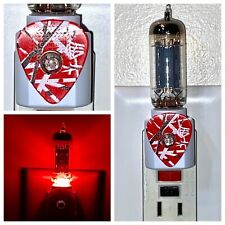 Eddie Van Halen EVH Striped Guitar Pick + 12AX7 Vacuum Tube Red LED Night Light