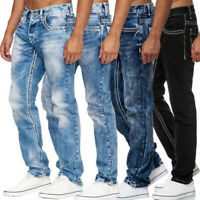 Men's Destroyed Biker Jeans Denim Washed Pants Straight Leg Distressed Trousers