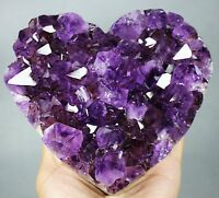 """4.72"""" NATURAL AMETHYST GEODE CLUSTERS HEART CRYSTAL FROM BRAZIL"""
