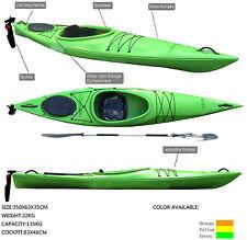 3.5M Pro Touring Kayak Single Sit-in Build-in Seat Paddle Rudder Canoe Green