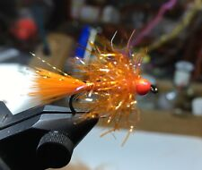 (6) Tungsten Bead Head Orange UV Estaz Monster Egg Flies For Steelhead/Salmon
