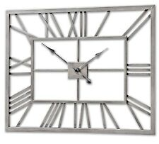 Silver Metal Frame Rectangular Clock - Ideal for Any Room in The Home