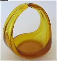 VINTAGE AMBER CRYSTAL GLASS BASKET ART DECORATIVE PIECE