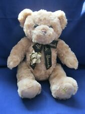 "Harrods silky soft plush beige brown teddy bear, black neck ribbon tie, 12"" tall"