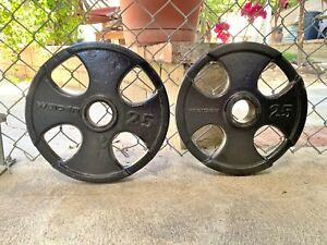 Weider 25 Lb. Olympic Iron Weight Plates 2 Plates 50 Lbs. Total