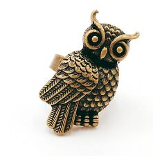 Vintage antique bronze owl ring