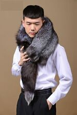 Men's Real WHOLE Silver Fox Fur Shawls Cape Wrap Scarf Vest Neckerchief muffler