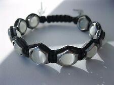 Natural White Cat's Eye Beads 10mm Handmade Shamballa bracelet 7 3/4'-11'