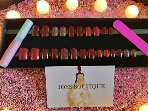 HAND PAINTED SPARKLY BURGUNDY RED DESIGN 24 BESPOKE FALSE NAILS SET IN GIFT BOX