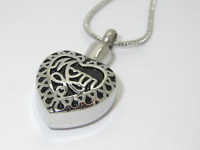 "CREMATION JEWELLERY URN PENDANT NECKLACE ""MUM MEMORIAL HEART"" KEEPSAKE"