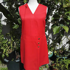 "1960 Vintage Mini Red Dress 3 gold buttons Chest 32"" original Clothing"