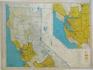 Original 1958 NORTHERN CALIFORNIA Commercial Map Counties Cities RR Rand McNally
