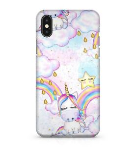 Mystical Rainbow Unicorns Golden Raindrops Water Painted Effect Phone Case Cover