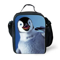 School Picnic Thermal Lunch Bag Cooler Bento Box Penguin Design Storage Totes