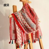 Bohemian Red Summer Scarf Large Shawl Wrap Beach Cover Up Sarong With Tassels