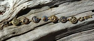 Handmade Antique Brass Dragon Buttons Bracelet Jewelry Gold Vintage Monsters