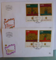 1972 ISRAEL INDEPENDANCE DAY SET 4 STAMPS W/- TAB ON 2 FIRST DAY COVERS