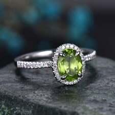 2.50Ct Oval Cut Green Peridot Diamond Halo Engagement Ring 14K White Gold Finish
