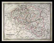 1851 Vuillemin Map Belgium Brussels Bruges Anvers Atlas
