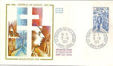 LETTRE PREMIER JOUR GENERAL DE GAULLE BRAZZAVILLE 1944 COLOMBEY LES DEUX EGLISES
