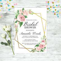 BRIDAL SHOWER INVITATIONS PERSONALISED FLORAL INVITE PINK HIGH TEA FLORAL HENS