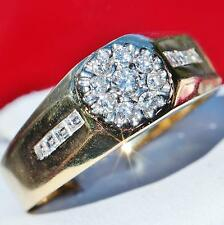 sz 11.75 ring vintage handmade 8.8g 18k yellow gold 0.90ct Fvvs2 natural diamond