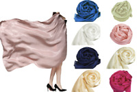 Exquisite Soft and Silky Large 100% SILK SATIN Shawl / Scarf / Wrap / Throw