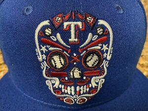 Texas Rangers Dia Los Muertos Sugar Skull Baseball Hat Snapback Cap