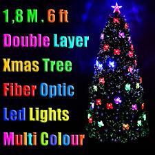 1.8m Xmas Christmas Green Tree Double Layer Fibre Optic Multi Colour LED Lights