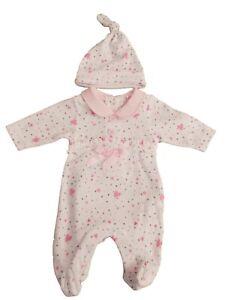 BNWT Tiny Premature Preemie Baby girls sleepsuit  baby grow & hat  3-5 lb 5-8lb