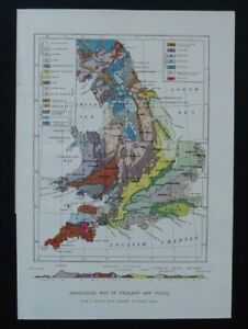 Antique Map: England & Wales Geological, New Popular Educator, 1899