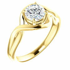 14k Yellow Gold Setting Semi Mount Ring Round Engagement Mounting Solitaire