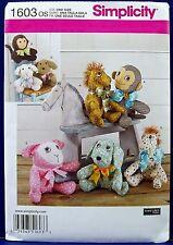 Simplicity Stuffed Animal Sewing Pattern Monkey Dog Lamb Pony Soft Toy 1603