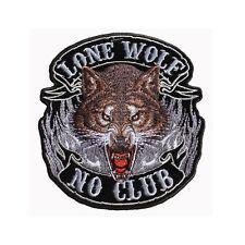 Biker Chopper Motorrad Lone Wolf No Club Aufbügler Aufnäher Patch Böser Wolf NEU