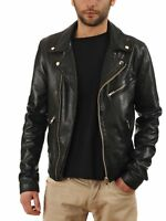 NooraNew Men's Lambskin Leather Jacket Motorcycle Black Biker Slim Fit Soft S11