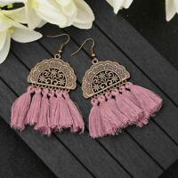 Women Bohemian Earrings Long Tassel Fringe Drop Dangle Stud Earring Boho Jewelry