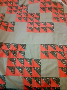 """Large Green & Orange Quilt Top To Complete, 110"""" x 120"""", w/Extra Fabric"""