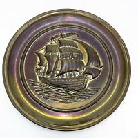 Large Antique Vintage Brass Charger Plate Plaque Embossed Ship Pattern 14 Inches