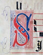 Huge deco. Antiphonary Manuscript Lf.Vellum,fancy S& unusiual Q initial,c.1500