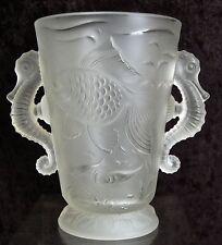 Vintage BAROLAC INWALD SEAHORSE VASE with KOI FISH SATIN CRYSTAL GLASS